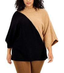 alfani plus size colorblocked kimono-sleeve sweater, created for macy's