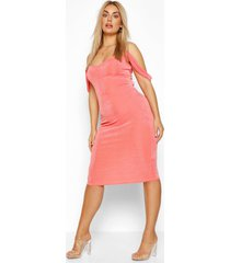 plus cold shoulder textured slinky midi dress, coral