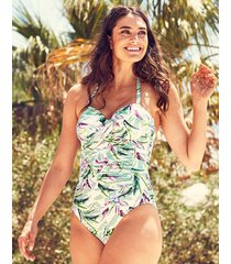 vintage palm underwire twist bandeau one-piece swimsuit d-ff cup