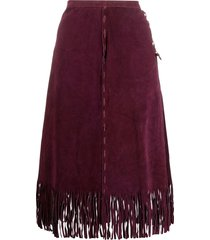 a.n.g.e.l.o. vintage cult 1980s a-line fringe suede skirt - red