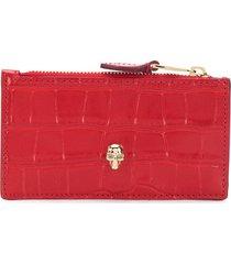 alexander mcqueen skull stud zip purse - red