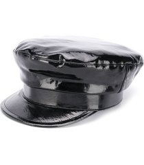 ann demeulemeester patent leather baker boy hat - black