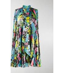 balenciaga paris city pleated shirt dress