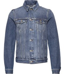 classic trucker jacket with label detail jeansjack denimjack blauw scotch & soda