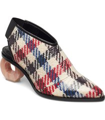 rodebjer lukacs check shoes boots ankle boots ankle boots with heel beige rodebjer