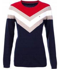 sweater manga larga ivy chevron a rayas azul tommy hilfiger