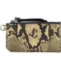 jimmy choo lise python print card holder pouch monogram