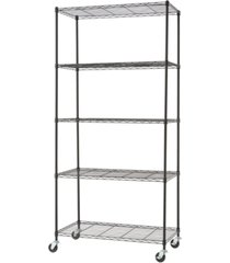 trinity basics 5-tier wire shelving rack with nsf includes wheels