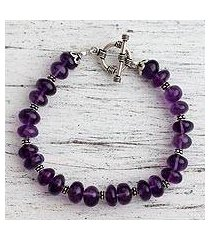 amethyst beaded bracelet, 'violet treasures' (india)