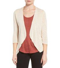 women's nic+zoe open blazer cardigan, size medium - beige