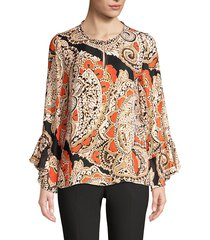kobi halperin women's kayla silk-blend paisely blouse - orange onyx multi - size xs