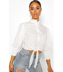 lace collar puff sleeve tie front shirt, ivory