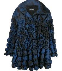 giorgio armani printed shirred shell coat - blue