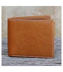 men's leather wallet, 'forever in saddle brown' (thailand)