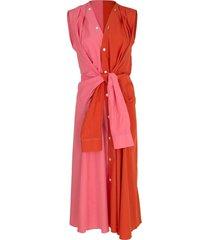 sleeveless two tone shirt dress