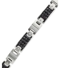 men's black leather and stainless steel link bracelet