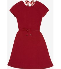 belted knit dress red 46