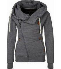 gray women's sports personality side zipper hooded cardigan sweater jacket