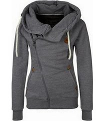 gray women's sports personality side zipper hooded cardigan sweater jacket