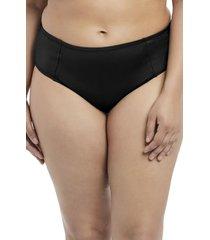 plus size women's elomi essentials mid rise bikini bottoms, size 16 - black