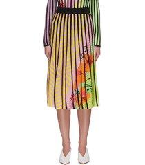 contrast vertical panels floral print midi skirt