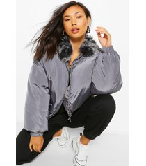 faux fur collar puffer jacket, charcoal