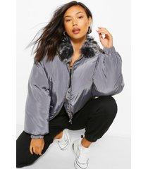 gewatteerde jas met faux fur kraag, charcoal