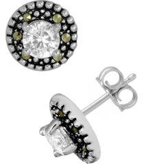 swarovski marcasite & cubic zirconia stud earrings in fine silver-plate
