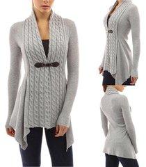 fashion women buckle braid front cardigan knitwear warm sweaters autumn long sle