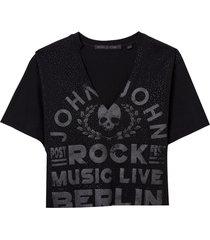 camiseta john john music live feminina (preto, gg)