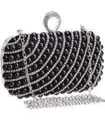 bolsa clutch liage bordada pedra pã©rola cristal pedraria strass brilho metal prata e preta - preto - feminino - dafiti