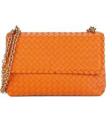 bottega veneta women's intrecciato leather shoulder bag - orange