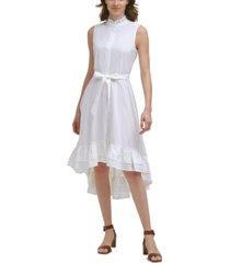 calvin klein cotton ruffled mock-neck midi dress