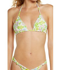 women's frankies bikinis tia floral bikini top, size medium - green