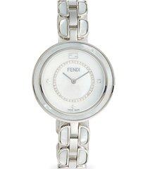 silvertone stainless steel, mother-of-pearl & diamond bracelet watch