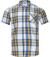 camisa cuadros con bolsillo color amarillo, talla s