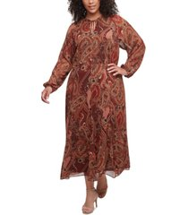 tommy hilfiger plus size paisley-print maxi dress