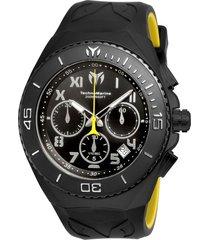 reloj technomarine amarillo negro modelo tm-2150rn para hombres, colección manta
