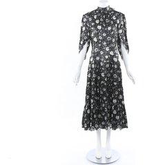 chloe black blue dandelion silk dress blue/black/floral print sz: s