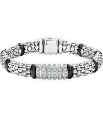 women's lagos black caviar diamond 6-link bracelet