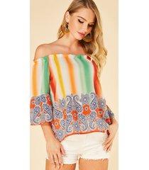 yoins blusa con hombros descubiertos y estampado de paisley con rayas anudadas en naranja
