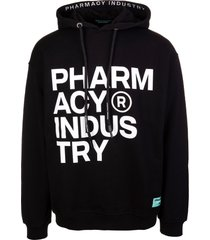 pharmacy industry man black hoodie with deconstructed logo