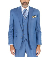 tayion collection men's blue solid classic-fit wool suit separate jacket