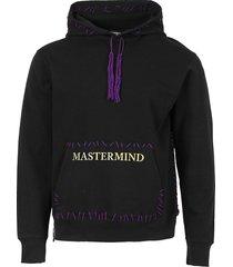 hand-stitched logo hoodie, black
