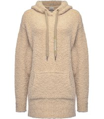 pinko textured long hoodie - neutrals