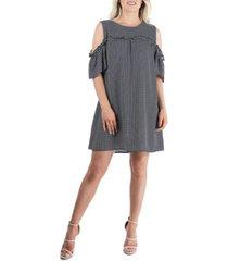 women's polka dot print cold shoulder dress