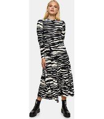 black and white tiered animal print midi dress - monochrome