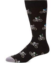 rabbit on bike mid-calf socks
