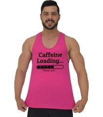 regata cavada masculina alto conceito carregando cafeina por favor aguarde rosa choque