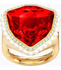 anello cocktail lucky goddess, rosso, placcato oro